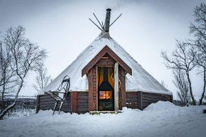 sami lavvu covered in snow