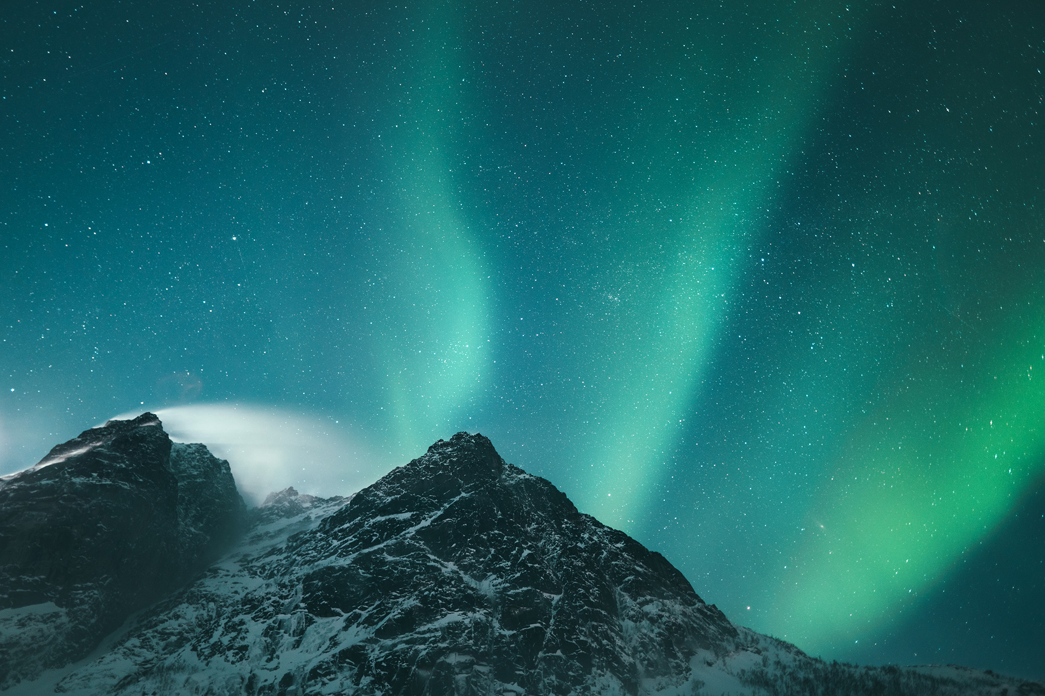 Northern Lights in the fjords of Northern Norway