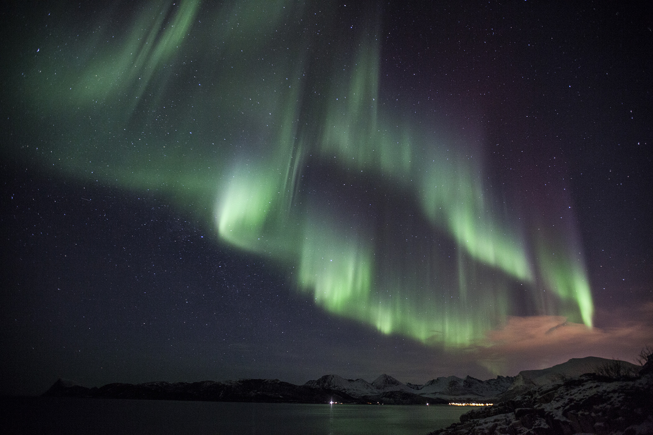 Aurora over the fjord