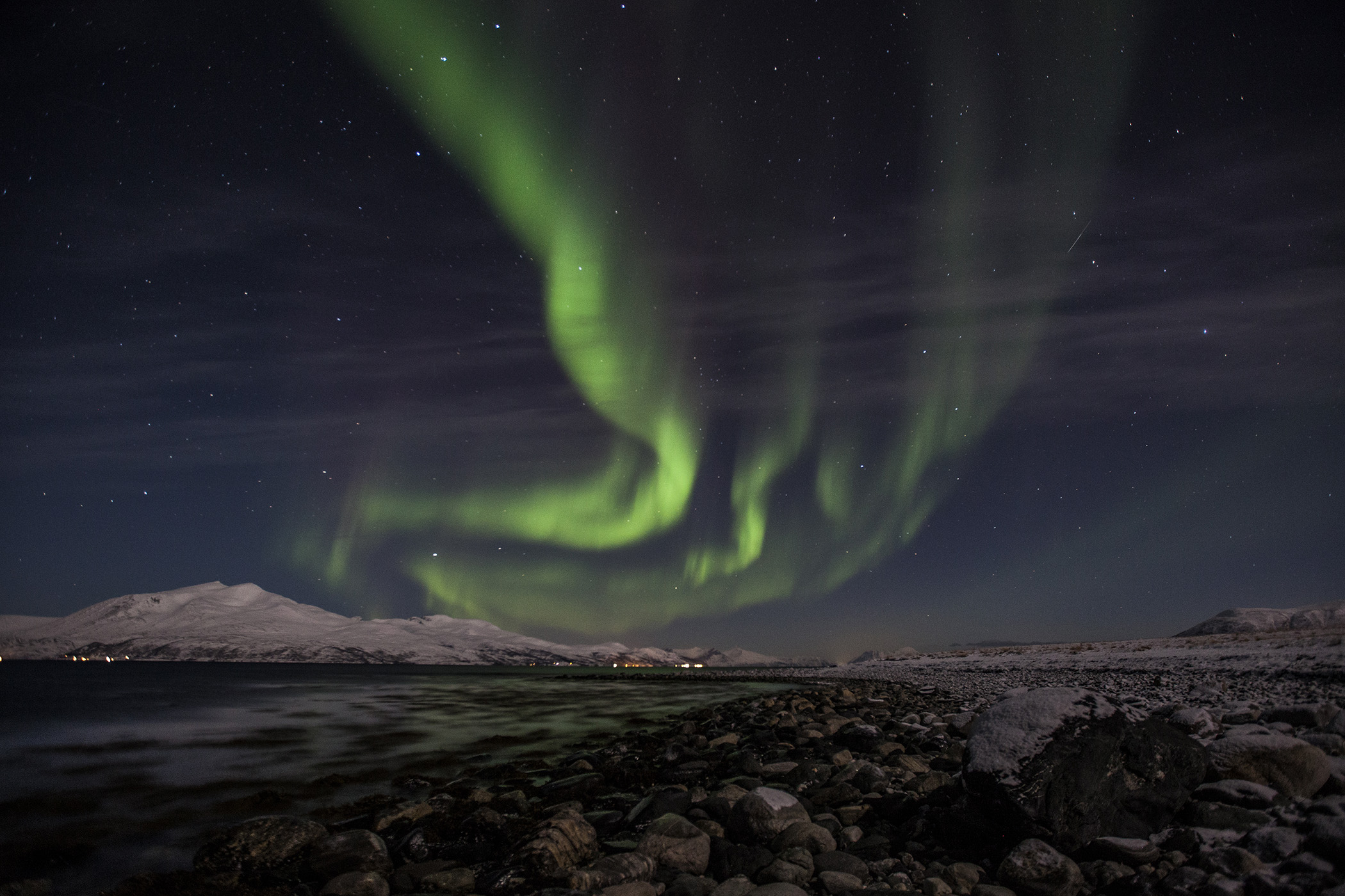 Aurora over the fjord norway
