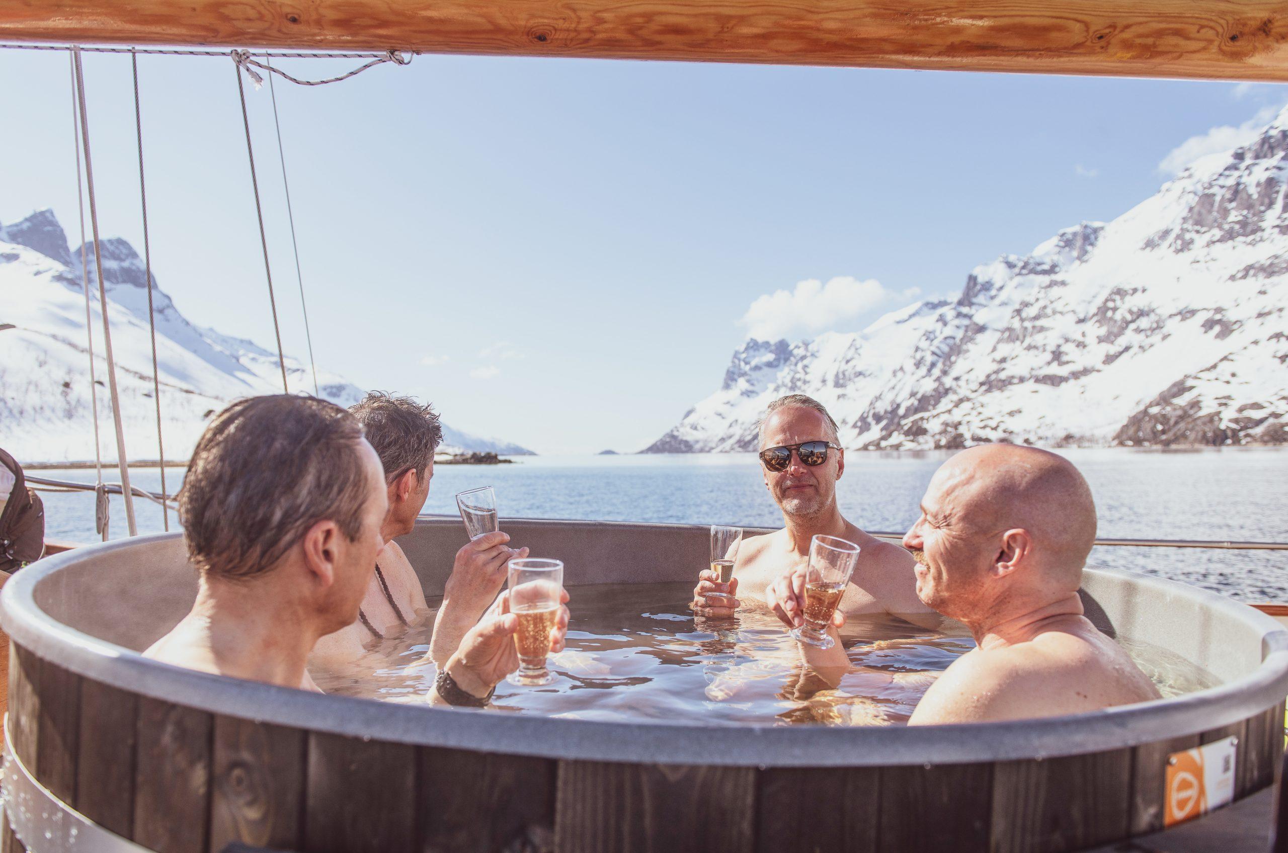 hot tub onboard sailing boat stella oceana tromso